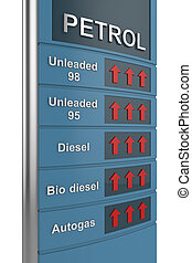 Fuel price - Concept image with petrol station sign, showing...