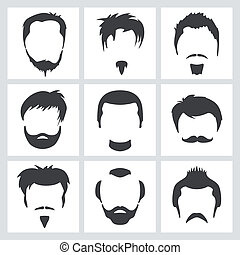 Male hair graphics - Set of mens hair and facial hair...