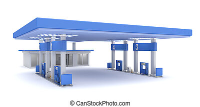 Gas station, 3d rendered image