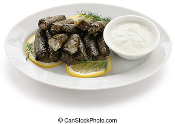dolma, stuffed grape leaves - turkish and greek cuisine