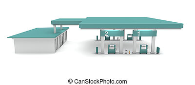 Petrol station - Side view of petrol station, 3d rendered...
