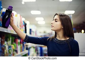 mulher, escolher, detergente