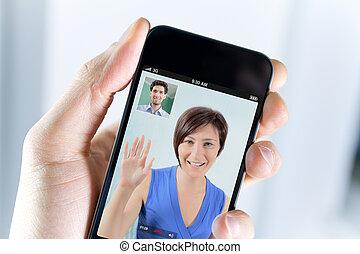 Para, cieszący się, video, rozmowa telefoniczna,...