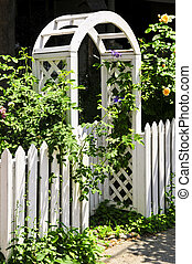 White arbor in a garden - White arbor with blooming roses in...