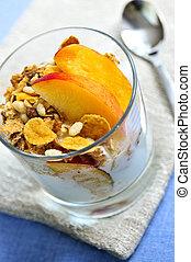 porción, yogur, granola