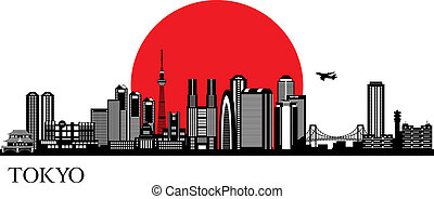 Tokyo silhouette Vector skyline illustration