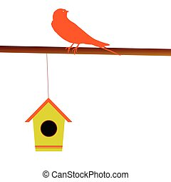 bird with its house vector illustration