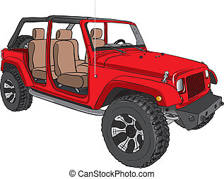 red of road vehicle - Illustration of a red of road vehicle
