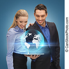 man and woman with tablet pc - man and woman with virtual...