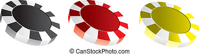 poker chips - Illustration of 3 different colored poker...