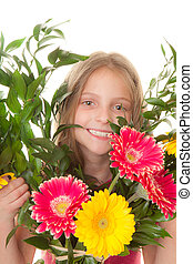 kid with boquet of flowers
