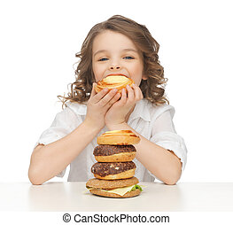 girl with junk food - picture of beautiful girl with junk...