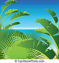 Tropical palm on sea background.