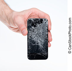 Man holding broken smartphone - Studio closeup of a male...