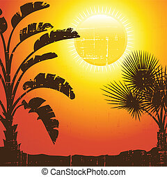 Background with palm trees silhouette at sunset.