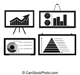 Minimal Cart ,bar Chart ,Arrow Chart Pie Chart ,Pyramid Chart on board for graphic vector eps10