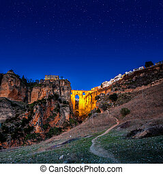 The village of Ronda in Andalusia, Spain. - End of day the...