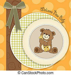 baby shower card with teddy bear and his toy