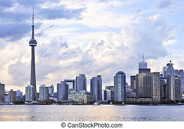 Toronto skyline - Toronto city waterfront skyline in late...
