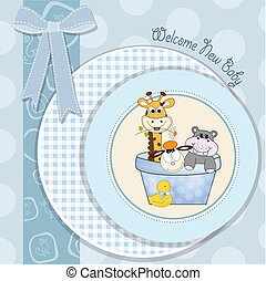 baby boy shower card with animal toys