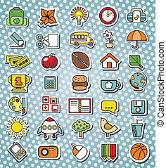 funny elementary school icons Vector illustration