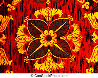 Vibrant Flower Pattern - a bright red and yellow pattern...