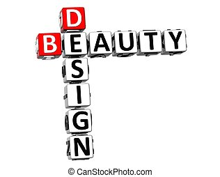 3D Design Beauty Crossword on white background