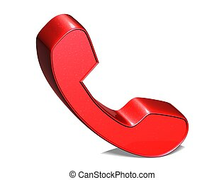 3D Telephone Handset Red Sign on white background