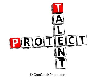 3D Talent Protect Crossword on white background
