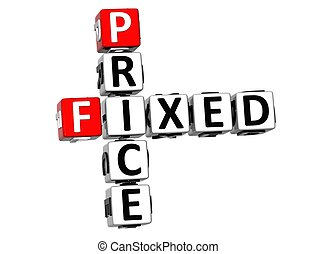 3D Fixed Price Crossword on white background
