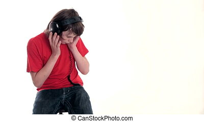 Teenage boy listening music