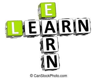 3D Learn Earn Crossword on white background