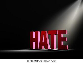 brilhar, luz, ligado, ódio