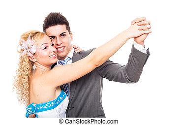 Wedding couple dancing - Young happy wedding dancing,...