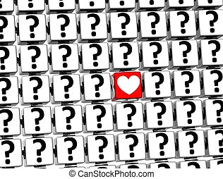 3D Heart Sign inside question marks blocks