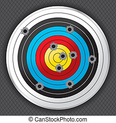 Shooting Range Gun Target with Bullet Holes - Shooting range...