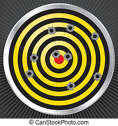 Shooting Range Gun Target with Bullet Holes - Yellow and...