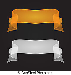 Transparent Silk Or Glass Ribbon Set. Vector