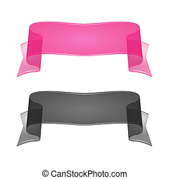Transparent Silk Or Glass Ribbon Set 2 Vector