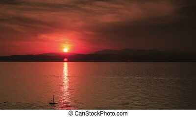 Sunset. - Sunset over Garda lake.