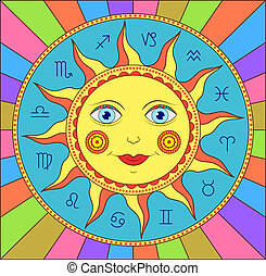abstract sun with zodiac signs - Vector illustration of...