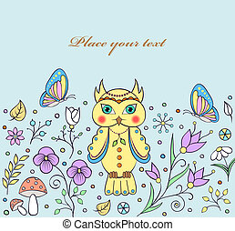 cute owl and abstract flower