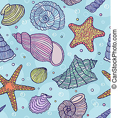 ocean shells - Vector illustration of seamless pattern with...