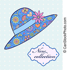Vector illustration of summer female hat on blue background