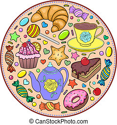 sweets - Vector illustration of sweets in the shape of plate...