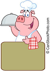 Happy Pig Chef Over A Blank Sign - Happy Pig Chef Holding A...
