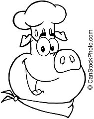 Outlined Happy Pig Chef Head Cartoon Character