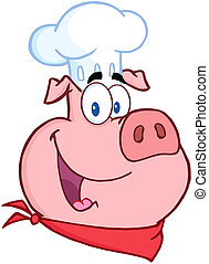 Happy Pig Chef Head Cartoon Character