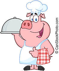 Happy Pig Chef Holding A Platter Cartoon Character