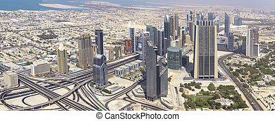 DUBAI, UAE. - OCTOBER 29 : Dubai, the top view on Dubai...